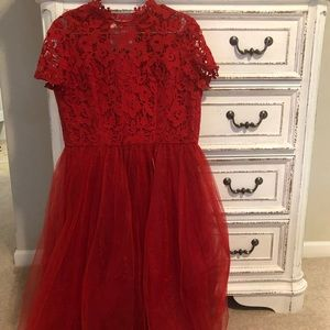 Red Lace and Tulle Midi Dress